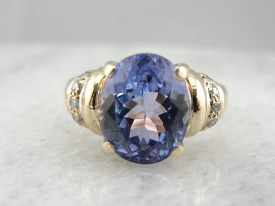 Indigo Purple Tanzanite and Diamond Ring in Yellow Gold