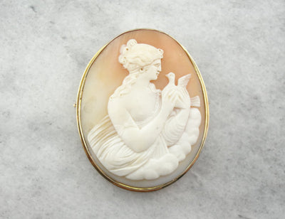 Aphrodite with Dove, Antique Cameo with Gorgeous Carving