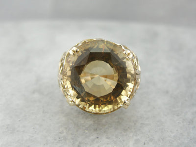 Flowing and Swirling Yellow Gold Filigree Citrine Cocktail Ring