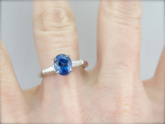 Sapphire Platinum Engagement Ring with Baguette Diamond Shoulders