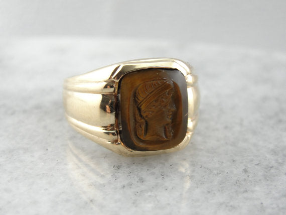 Caved Roman Portrait Tigers Eye Ring