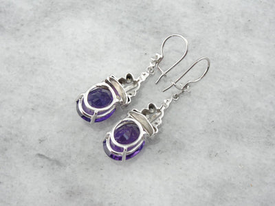 Amethyst Earrings with Scrolling Diamond Details
