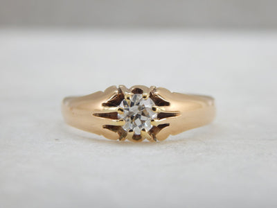 14K Rose Gold Victorian Belcher Setting Diamond Engagement Ring