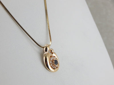 September Baby, Sapphire and Diamond Mother and Child Pendant