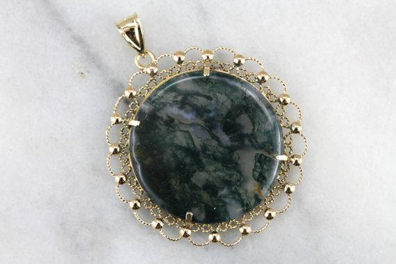 Large Moss Agate Pendant in Filigree Frame