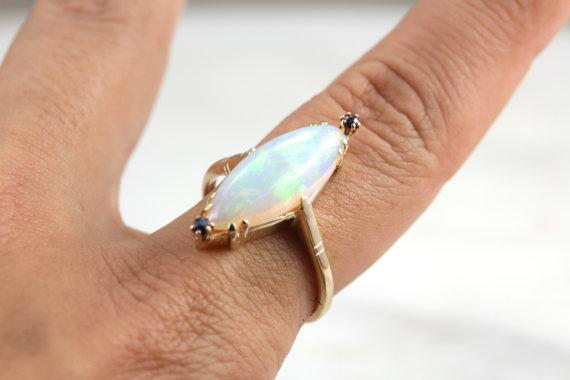 Marquise Cut Opal Cocktail Ring with Sapphire Details