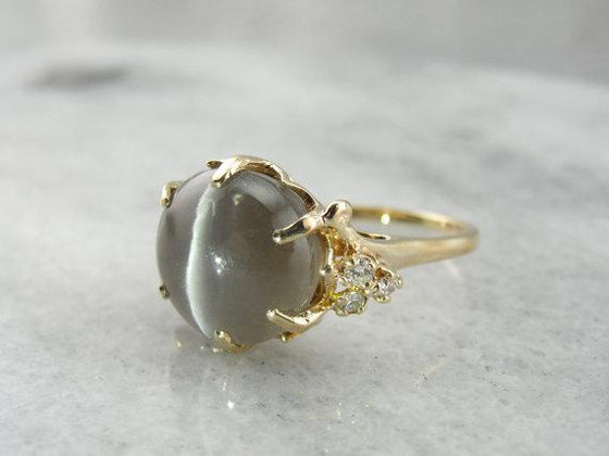 Fantastic Cat's Eye Sillimanite and Diamond Cocktail Ring