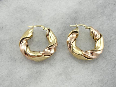 High Karat Versatility: Rose and Yellow Gold Hoop Earrings, 18K Gold