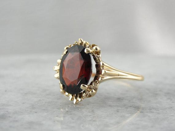 Vintage Red Garnet Cocktail Ring with Scalloped Gold Frame - Final Payment