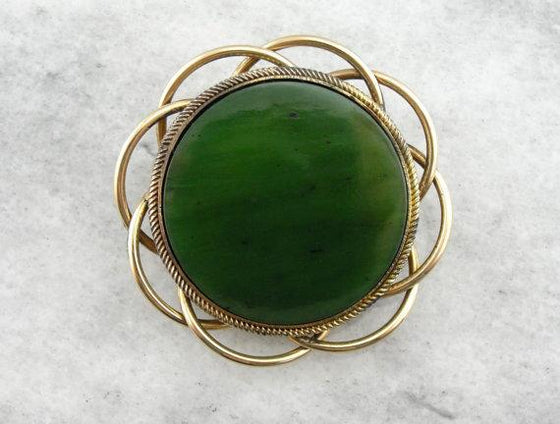 Deep Hunter Green Jade Brooch in Gorgeous Symmetallic Silver and Gold Frame