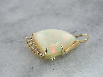 Ethiopian Opal Pendant with Diamond Accents