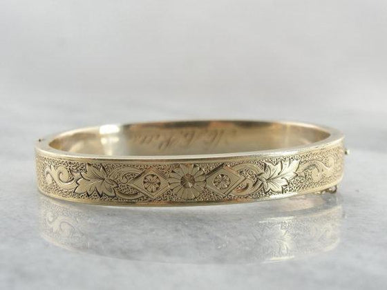 Set of Two Victorian Gold Bangle Bracelets, Hinged Antiques with Original Engraving