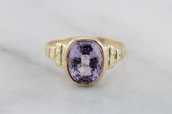 Early 1900's Ladies Cocktail Ring, Lavender Spinel