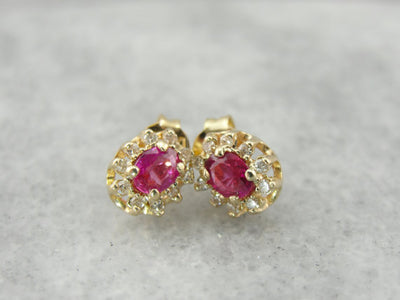 July Halo, Ruby and Diamond Stud Earrings