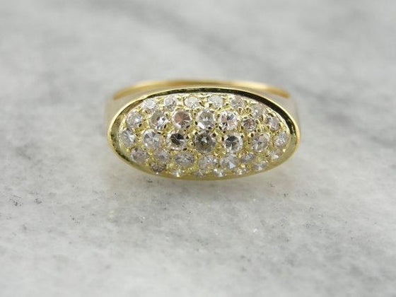 Contemporary Diamond Pave Ring in Yellow Gold