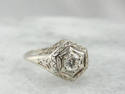 Fine Diamond in Art Deco Filigree Engagement Mounting, White Gold