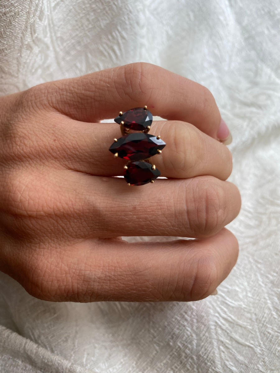 Large Three Stone Garnet Statement Ring
