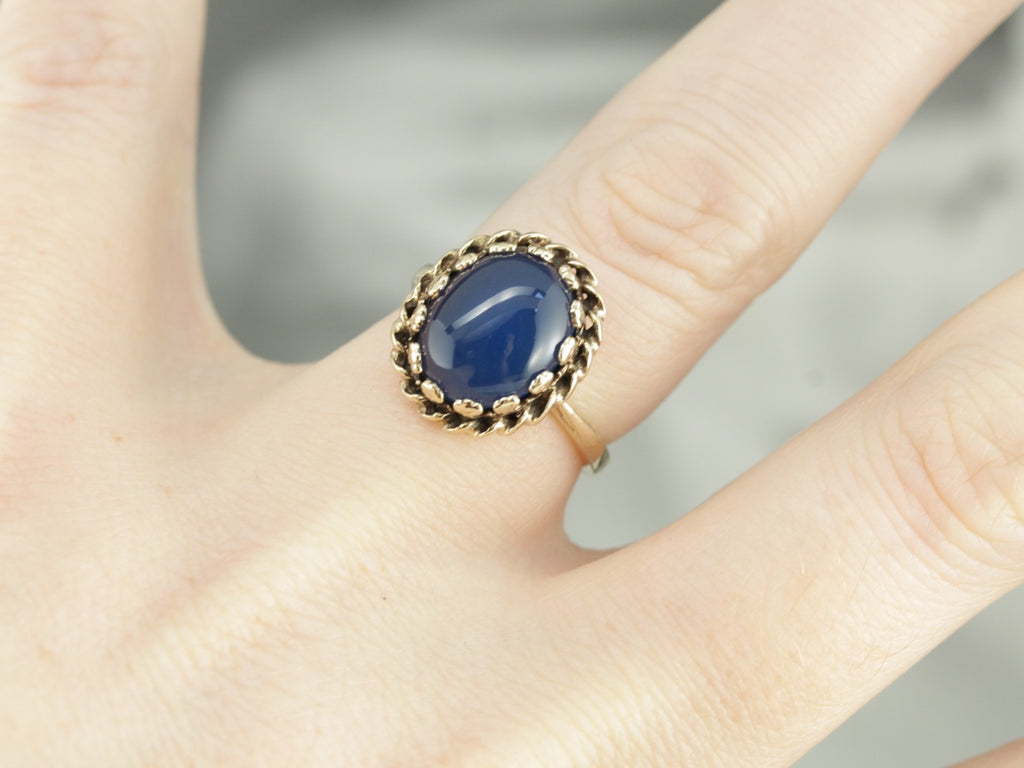 Deep Blue Chalcedony Vintage Yellow Gold Cocktail Ring