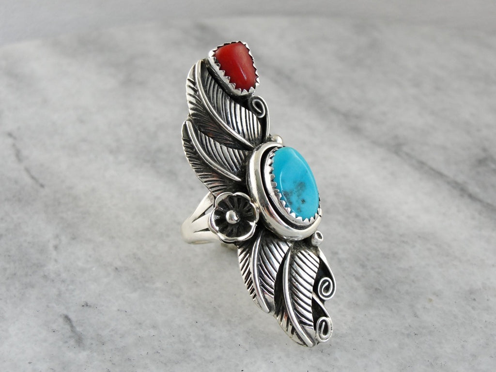 Elongated Native American Cocktail Ring