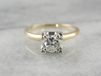 1940's Transitional Cut Diamond Solitaire Engagement Ring