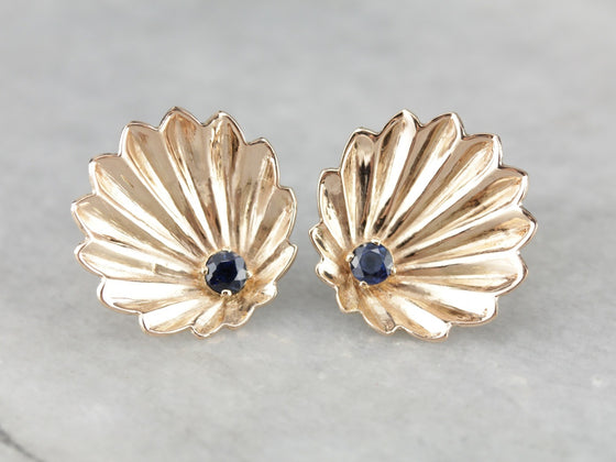 Retro Era Sapphire Scallop Shell Stud Earrings