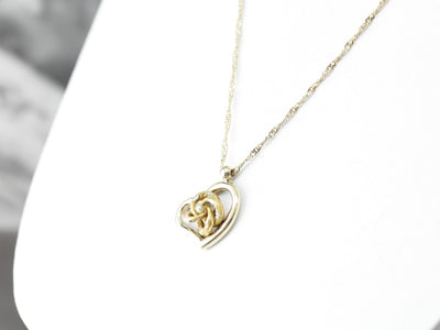Upcycled Victorian Lovers Knot and Heart Pendant Necklace