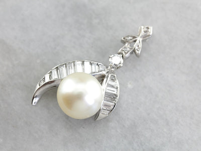 Beautiful Vintage Pearl and Diamond Platinum Pendant