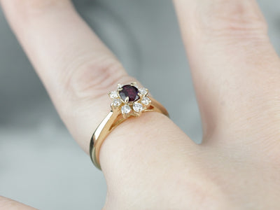 Ruby and Diamond Floral Halo Ring