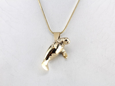 Adorable Manatee Sold Gold Pendant