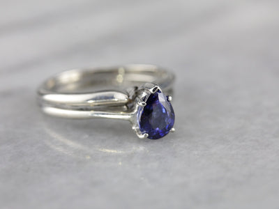 Pear Cut Sapphire Solitaire Engagement Ring