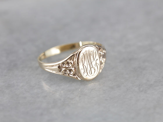 "Victorian ""RMG"" Monogram, Antique Rose Gold Signet Ring"
