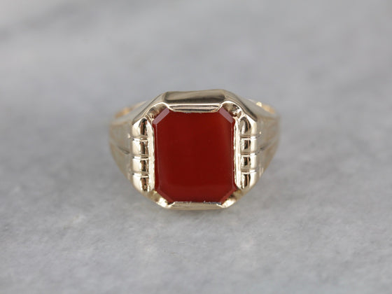 Retro Era Carnelian Statement Ring