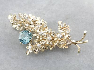 Vintage Glittering Floral Blue Zircon and Diamond Brooch
