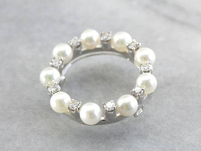 Elegant Vintage Pearl and Diamond Circle Pin