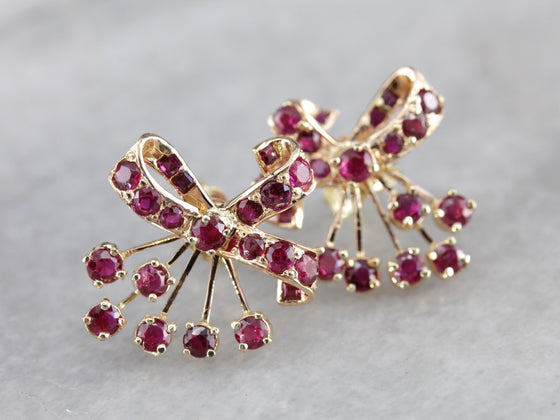 Retro Era Ruby Bow Stud Earrings - Second Half