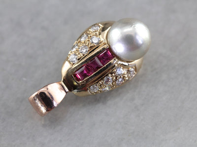 Unique Pearl Diamond and Ruby Pendant