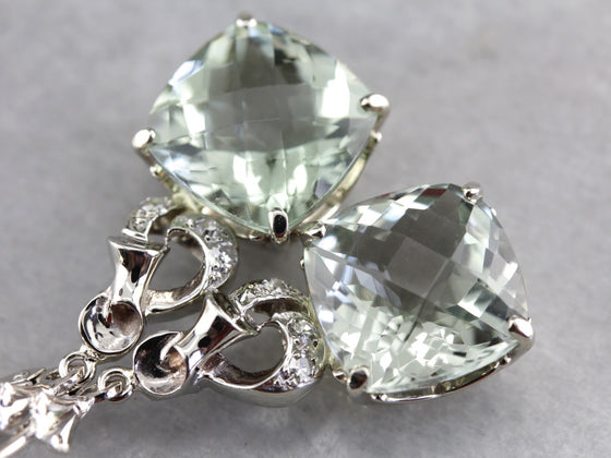 Gorgeous Green Quartz and Diamond Drop Earrings