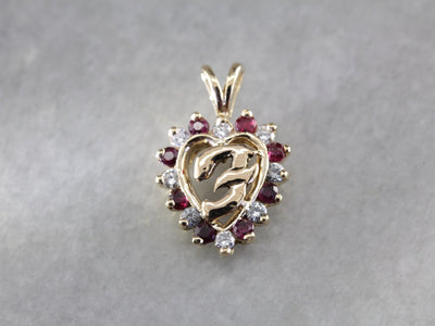 "Monogram ""F"" Ruby Diamond Heart Gold Signet Pendant"