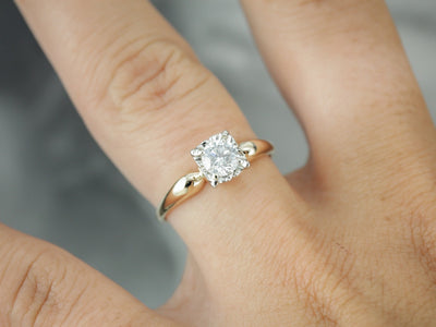 Diamond Solitaire Illusion Head Engagement Ring