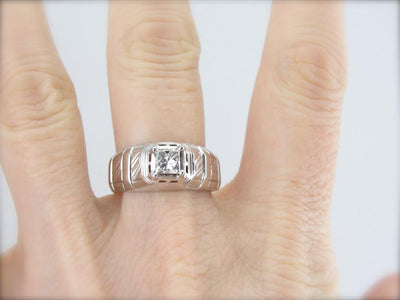 Square Cut Diamond and Retro Era Unisex White Gold Ring