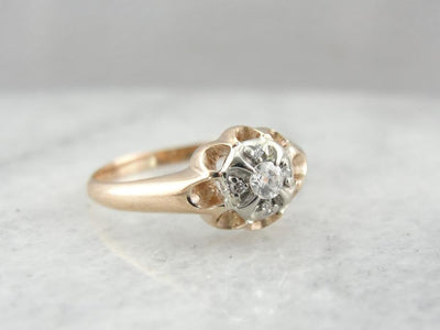Victorian Rose and Whtie Gold Ladies Ring
