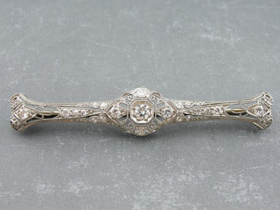 Edwardian Platinum and Diamond Bar Pin