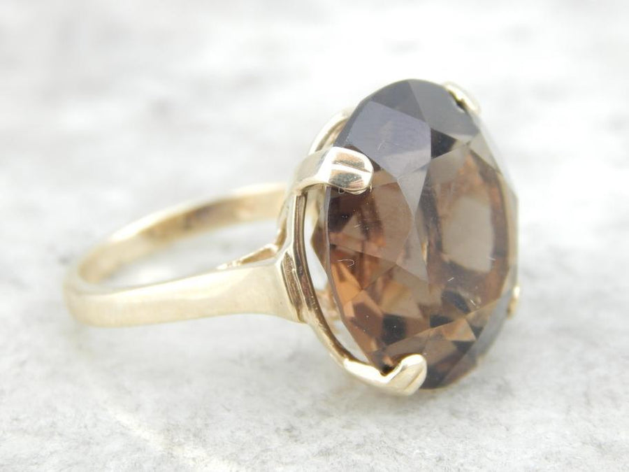Smoky Quartz and Vintage Gold Bauble Ring