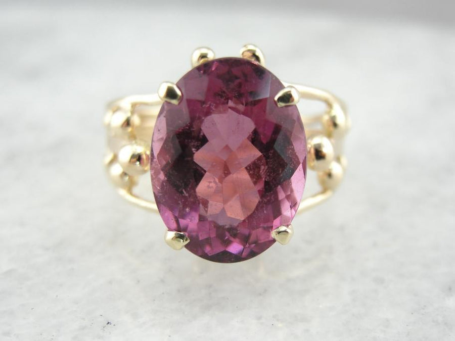 Mid-Century Cocktail Mounting with Large Pink Tourmaline