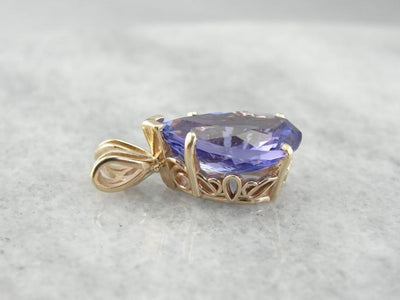 Simple Tanzanite Pendant with Intense Violet Hue