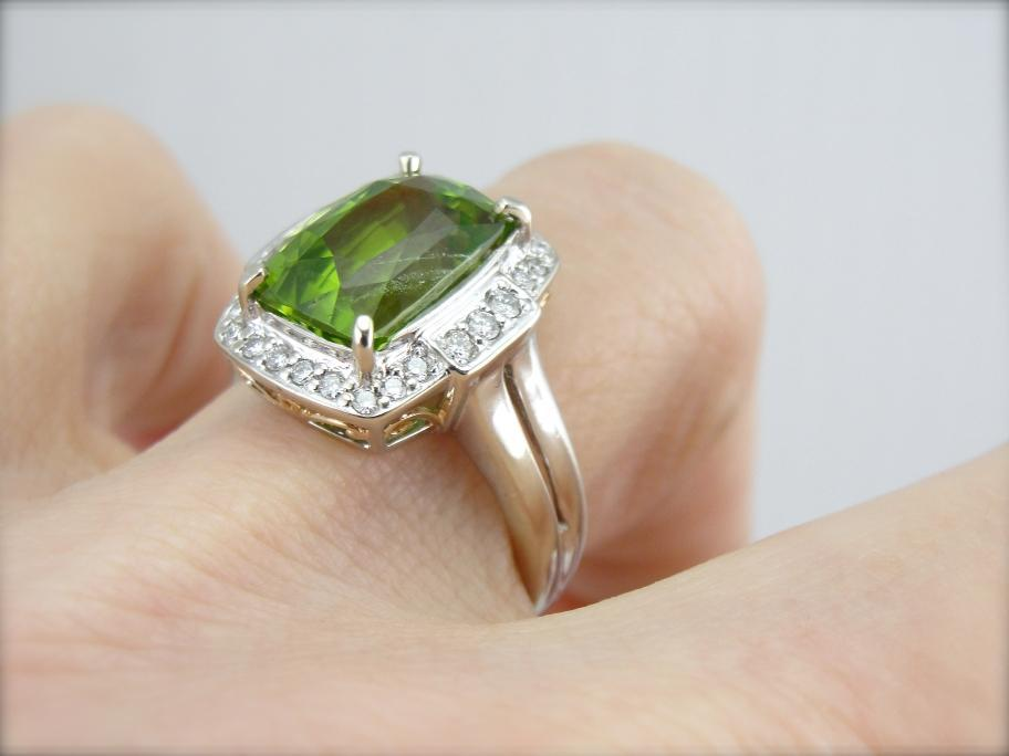 Contemporary and Bold Peridot Cocktail Ring