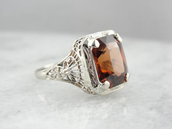 Brilliant Orange Zircon and Art Deco Filigree Cocktail Ring