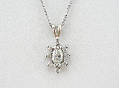 Marquise Cut Diamond Halo Pendant in White Gold