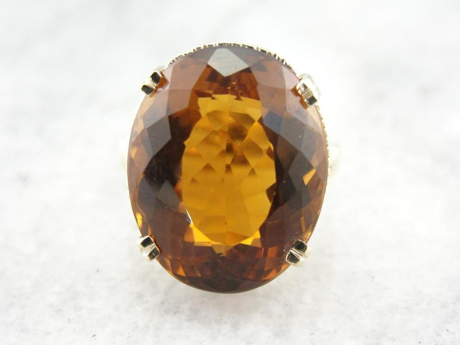Honey Citrine Cocktail Ring