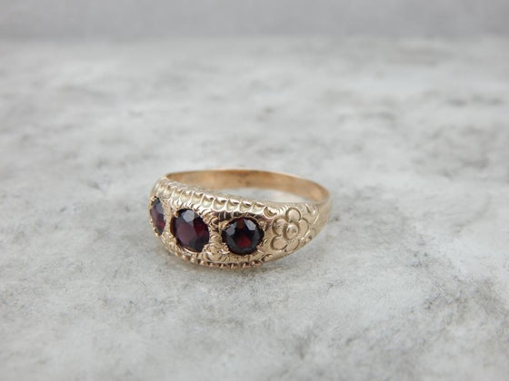Antique Victorian Ant Hill Garnet Triple Stone Ring